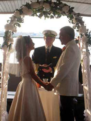 Captain Arnold ordained chaplain performs a wedding on board a ship in New York City harbor