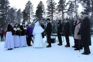 Ordained minister performs a holiday wedding